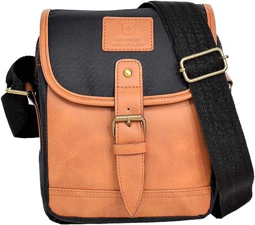 Polyester 17 Cms Black Beige Messenger Bag SLB1