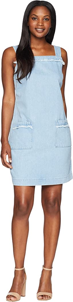 Sleeveless Frayed Edge Two-Pocket Classic Denim Dress