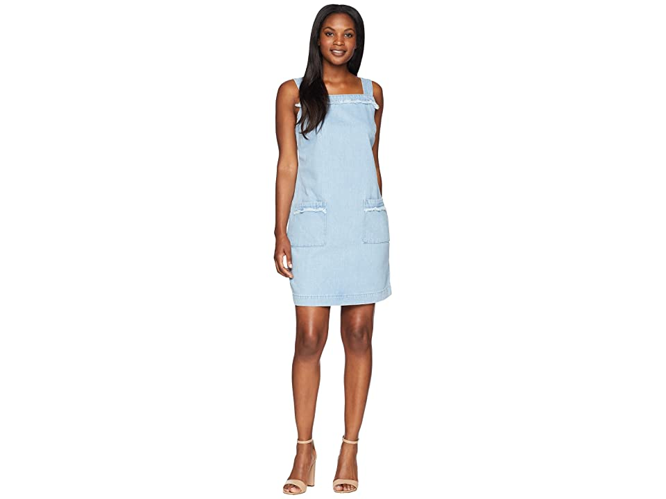TWO by Vince Camuto Sleeveless Frayed Edge Two-Pocket Classic Denim Dress (Corsica Wash) Women