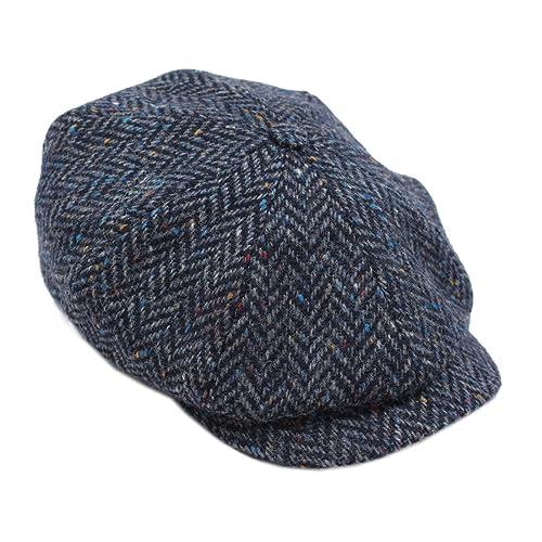 c4e1104e3bc Newsboy Cap 100% Wool 8 Piece Navy Herringbone Blinder Hat Made in Ireland