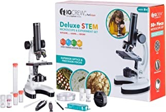 IQCrew by AmScope Kids Beginner Microscope STEM Science Kit for Students w/Premium Optics, All Metal Frame, and 55+ pc Accessory Set w/Slides, Tools, Experiment