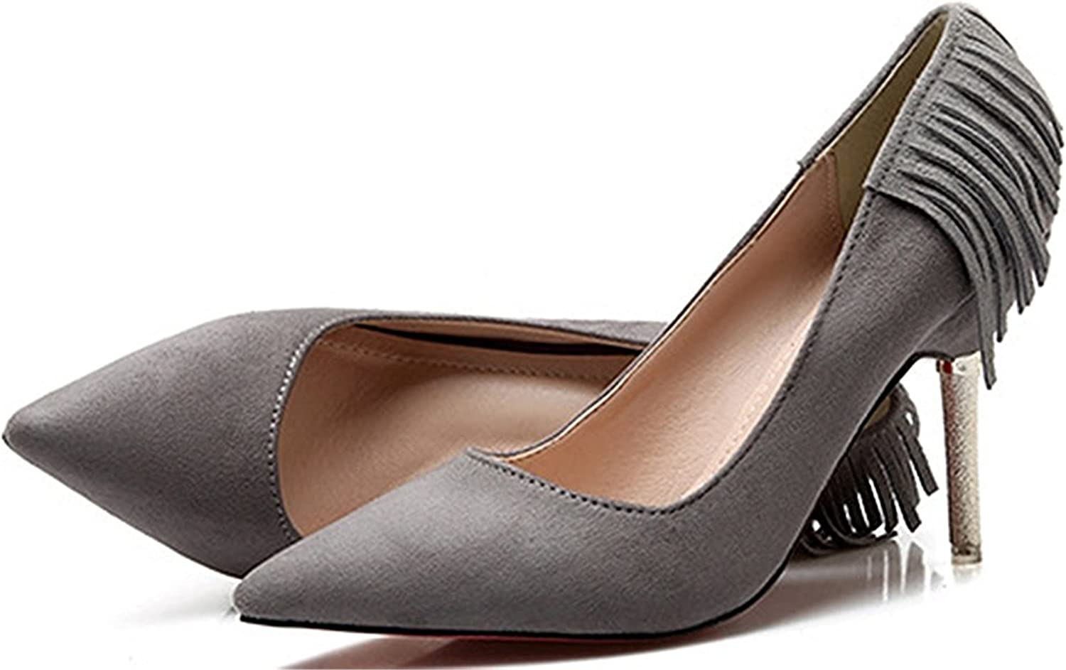 WANabcMAN Comfortable Women's Sexy Tasseled High Heel Stiletto Pointed Toe Low Top Slip On Pumps shoes