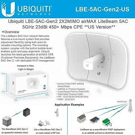 $69 Get Ubiqui Network LiteBeam ac Gen LBE-5AC-Gen2-US 2X2 MIMO airMAX 5GHz 23dBi 450+ Mbps CPE