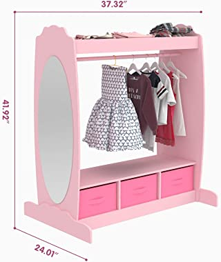 Mecor Kids Dress Up Storage with Mirror, Clothes Hook, Shelf and Rod - Kids Armoire with Fabric Storage Bins (Pink)