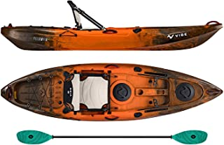 Vibe Kayaks Yellowfin 100 10 Foot Angler Recreational Sit On Top Light Weight Fishing Kayak (Wildfire) with Paddle and Adjustable Hero Comfort Seat - Caribbean Blue Evolve Paddle