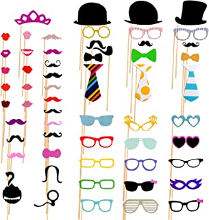 AniiKiss Colorful Photo Booth Props 58 Pieces DIY Mask Mustache Stick Props for Wedding Birthday Party