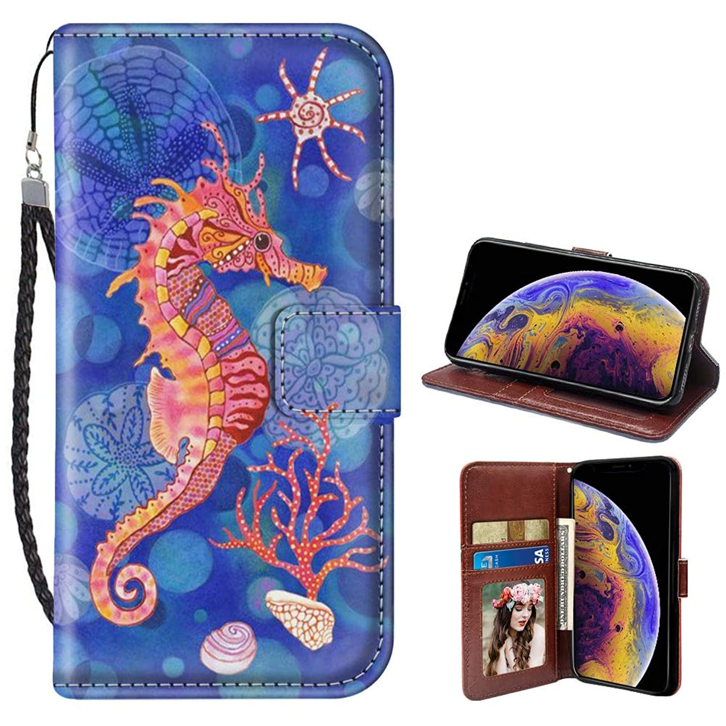 Seahorse iPhone Xr Case for Kickstand PU Leather Card Slot Magnetic Flip Wristlet Phone Cover iPhone Xr Wallet Case Seahorse