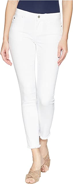 Five-Pocket Frayed Hem Ankle Jeans in Ultra White