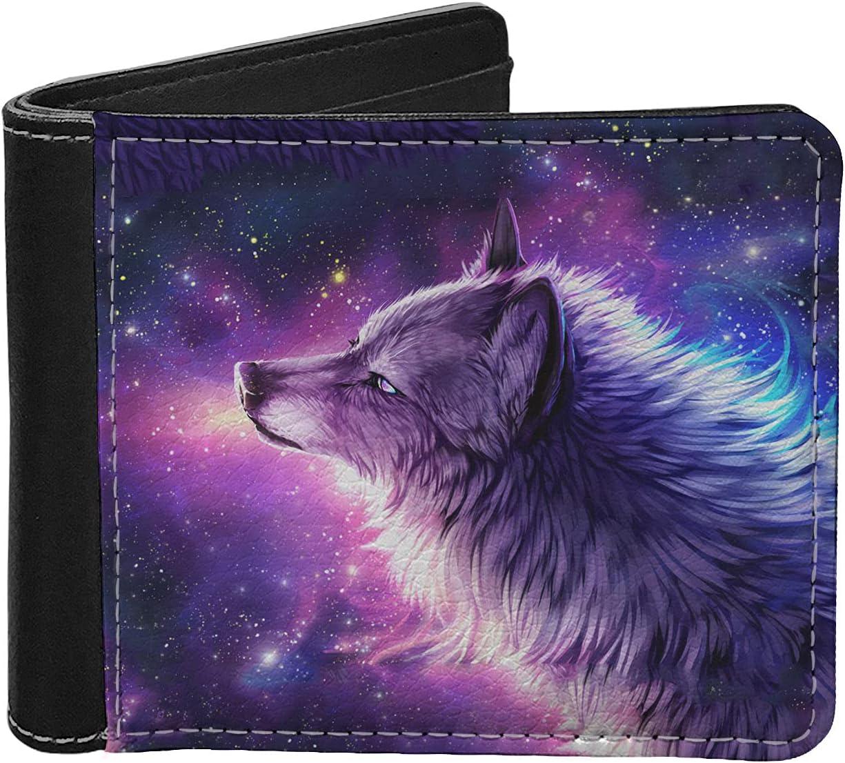 WELLFLYHOM Galaxy Wolf Leather Slim Wallet for Women Men Clutch Smart Heavy Duty Small Cards Holder Cash Organizer Foldable Clutch Coin Purse Portable Bag