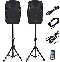 AKUSTIK Dual 2-Way Powered PA Speaker System, Portable DJ Speaker with Active + Passive Speakers, 2 Speaker Stands, Microp...