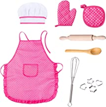 Cooyeah Baking Apron Set Pretend Play Toy Kids Complete Kids Cooking Including 11 Pieces for Little Girls and Boys Chef Hat Costume for Kids Career Role Play 3 Year Old and Up (Pink)