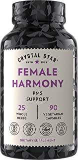 Crystal Star Female Harmony (90 Capsules) - Herbal Supplement for PMS Relief & Hormone Balance – Dong Quai, Maca Root, Haw...