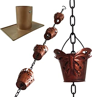 LEPTALINA Antique Rain Chains for Gutters and Downspouts Drain – 8.5FT Premium Quality Butterfly Iron Rain Chain with Non-Rust Plating – Trendy Outdoor and Garden Décor