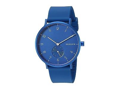 Skagen Aaren Kulor 41mm Three-Hand Silicone Watch (SKW6508 Blue Silicone) Watches