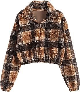 Women's Plaid Faux Fur Cropped Sweatshirt Half Zip Long Sleeve Sherpa Pullover Top Outwear