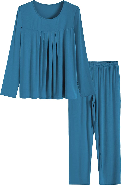 Latuza Women's Long Sleeves Pleated Front Tops Pajamas Pants with Pockets