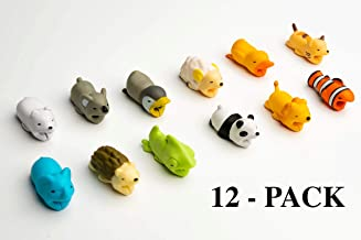 Animal Cable Charger Protector 12-Pack Accessory Bites, Cute Pet Charging Cable Saver for iPhone & Samsung USB Cord, Gift