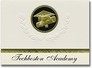 Signature Announcements Techboston Academy (Dorchester, MA) Graduation Announcements, Presidential style, Basic package of 25 Cap & Diploma Seal. Black & Gold.