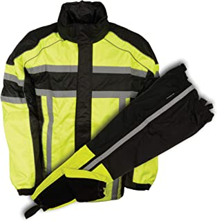 Shaf Men's Motorcycle Motorbike 100% Nylon Rain Suit Gear Black & Green Durable New