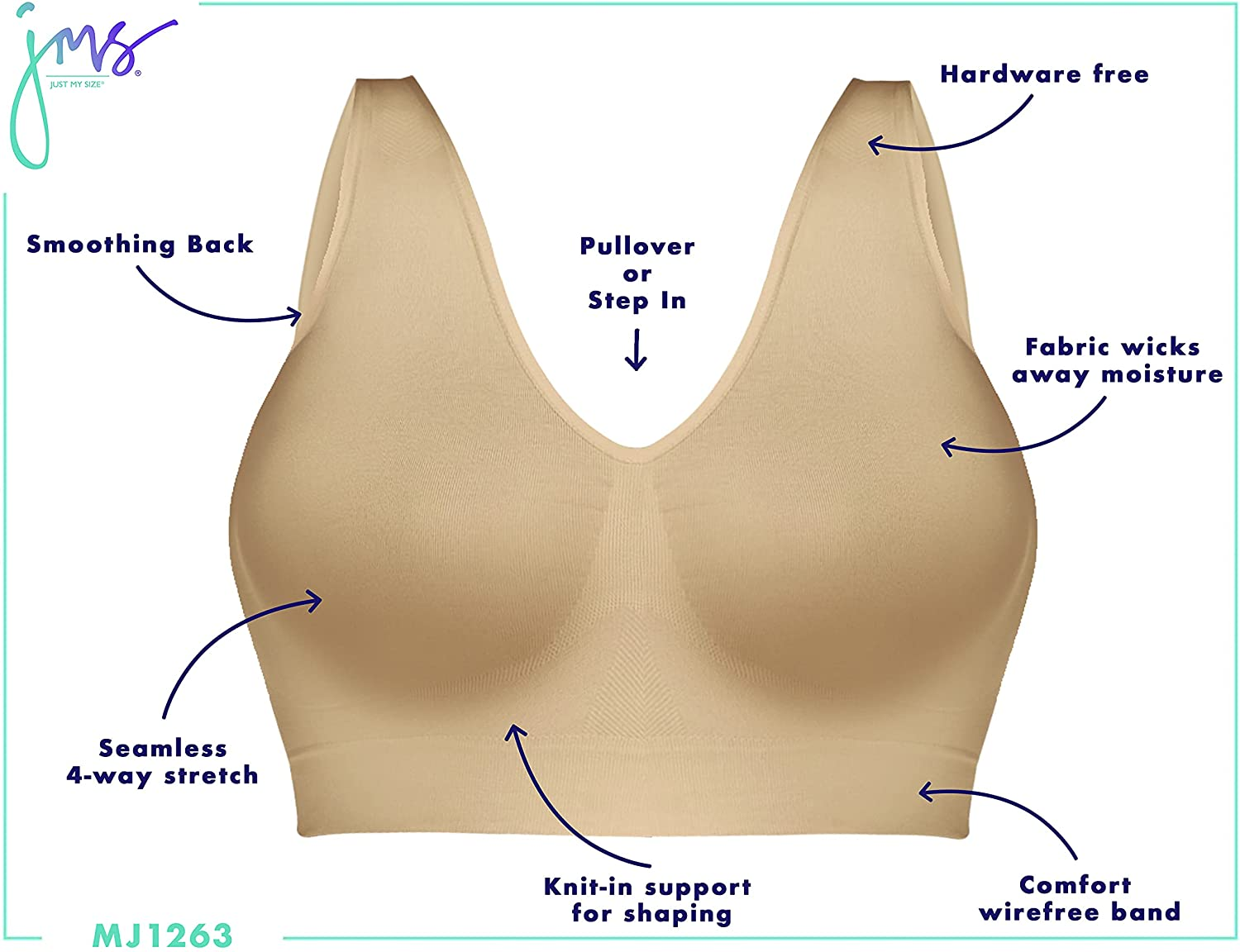 JUST MY SIZE Pure Comfort Seamless Wirefree Bra with Moisture Control (1263)