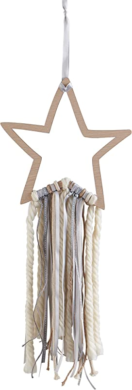Wendy Bellissimo Hanging Wood Wall Art Wall D Cor Star Ribbon In Grey