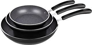 Cook N Home 02683 3 Pieces Frying Saute Pan Set with Non-stick Coating and Induction Compatible bottom, 8