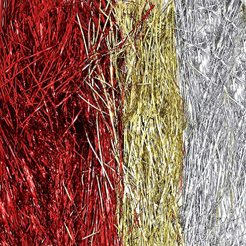 Gift Boutique Christmas Tree Tinsel Icicles Total 6000 Strands Includes 2000 Silver Icicles, 2000 Gold and 2000 Red Strands for Christmas Tree and Holiday Decorating