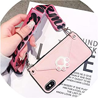 Case for iPhone XR X 6 6S Plus 8 7 Plus XS MAX Case Luxury pu Leather Lips Card Wallet with Shoulder Strap Phone Lanyard,A,for iPhone 6 6s