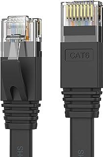 Senetem LANケーブル 10m CAT6 フラットLANケーブル カテゴリ-6 高速 lanケーブル CAT6準拠 イーサネットケーブル RJ45 やわらか スリム ブラック