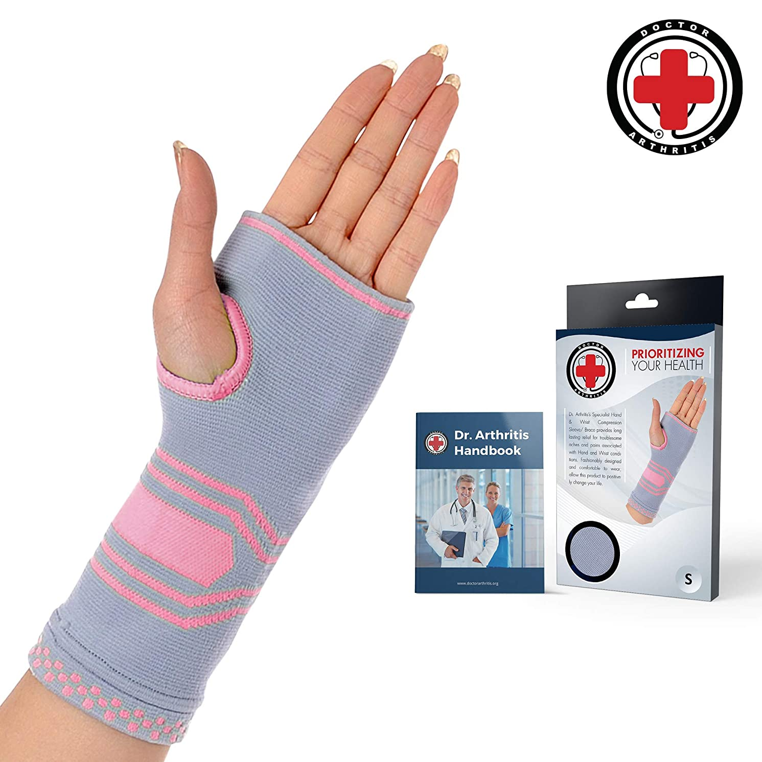 Doctor Developed Wrist & Hand Compression Sleeve/Support/Brace & Doctor Written Handbook - Palm Protector with Gel Pad, Optimum Comfort for Arthritis, Carpal Tunnel, RSI & More (Pink/Grey, Medium)