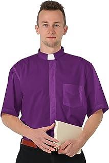 GraduatePro Camisa Sacerdote con Alzacuellos Manga Corta Clero Hombre Cura Clerical