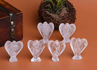 AMOYSTONE Clear Quartz Crystal Guardian Angel Statue Figurines Pocket 6PCS Decoration Home Lucky 1.5