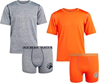 Black Bear Boys Active Performance Boxer Brief and T-Shirt Matching Set (4 Pack)