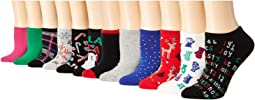 12 Days of Christmas No Show Liner Socks Gift Box 12-Pairs