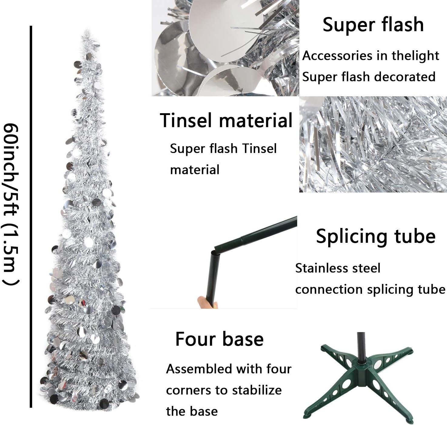 LOKIPA /Árbol de Navidad plegable de 1,5 m y 1,5 m con soporte de f/ácil montaje