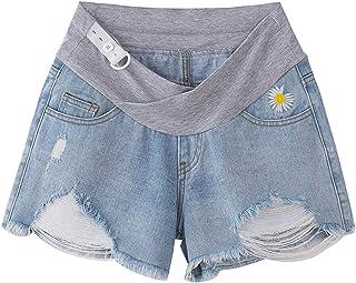 U//A Pantaloni per Donna Incinta Larghi di Grandi Dimensioni Jeans per la Gravidanza Jeans Strappati Jeans per Donna Regolabili Addominali Pantaloni Lunghi Dritti