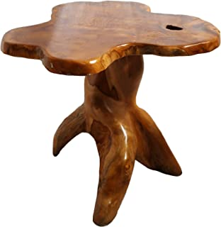 Double Duck Dura Lateral Table- Recuperado Teca Raíz Madera