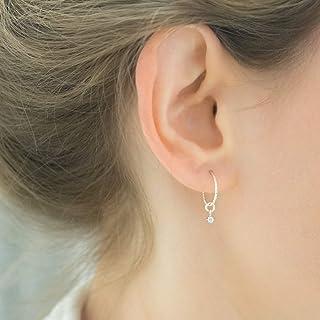 2 Pairs of Sterling Silver Long Flattened Hoop Earrings for Charms Dangles Simple Silver Hoops /& Beads Silver Hopp Earrings,Silver Hoops