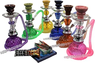Colorful Beatle Hookah 1 Hose Small Shisha Pipe + 1 Roll of Charcoal Coal + 1 Box of Soex Double Apple + 1 Pack of Aluminum foil (50pcs) + Tongs no Tobacco - no Nicotine Stem Style May Vary (Pink)