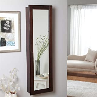 BeUniqueToday Wall Mounted Locking Jewelry Armoire Cabinet in Espresso Wood Finish, Space-Saving, Wall-Mount Design, Locking Door, Full-Panel Mirror, 3 Removable Trays, A Great Addition to Your Home