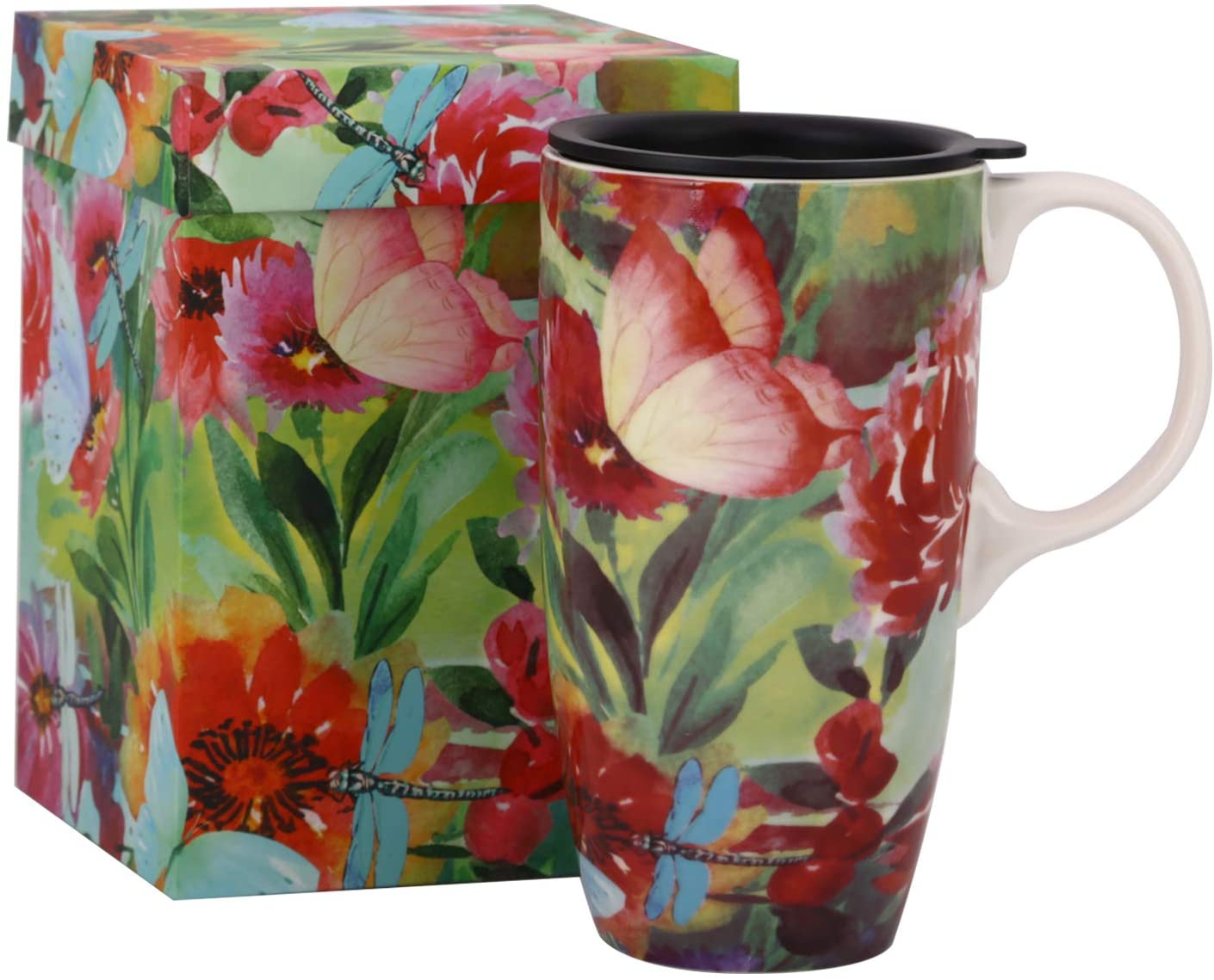 Ceramic Coffee Mug 17 oz. Coffee Cup with Color Boxs and Spill-proof Lid