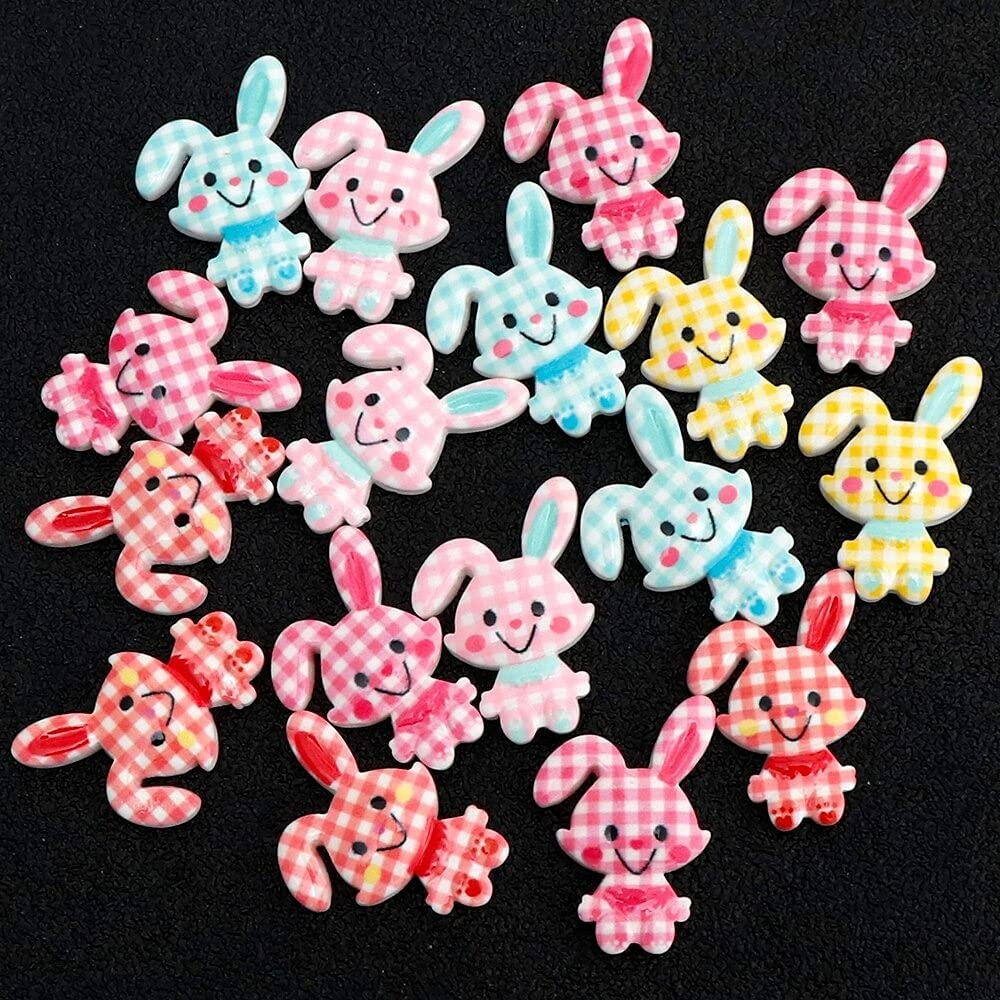 OHLIN - 20pc Resin Cute Scrap Today's only Rabbit Cabochons Mesa Mall Decoration Crafts