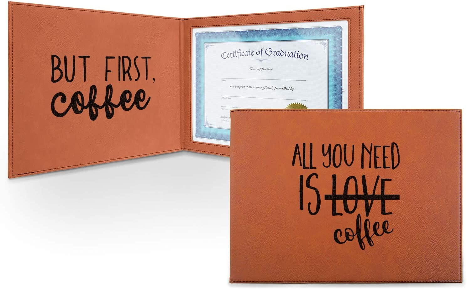Coffee Max 43% OFF Lover Leatherette Product Certificate Holder Front and Inside -