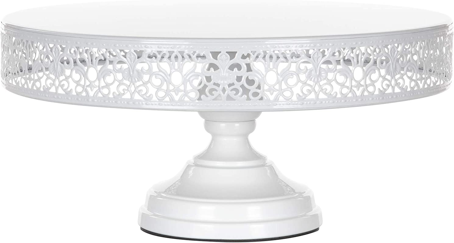 Amalfi Decor 14 Inch Cake Stand Dessert Cupcake Pastry Candy Display Plate For Wedding Event Birthday Party Large Round Metal Pedestal Holder White