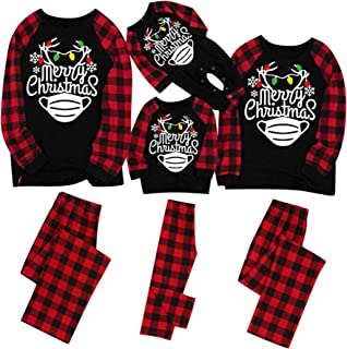 EINCcm Holiday Christmas Family Pajamas Matching Set Quarantine Survivor Family Customized Xmas Pjs for Couples Kids Baby