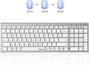 Multi-Device Bluetooth Keyboard, Jelly Comb Slim Compact Bluetooth Keyboard with Number Pad  Seamless Switch Among 3 Devices (White and Silver, Rechargeable)