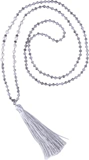 Long Chain Pearl Tassel Necklace Handmade Crystal Beaded Pendant Bohemian Women Statement Jewelry for Women Gifts for Girls