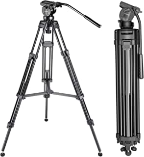 Neewer Professional 61 inches/155 Centimeters Aluminum Alloy Video Camera Tripod with 360 Degree Fluid Drag Head,1/4 and 3...