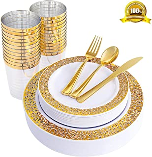ENUOSUMA 150 Piece Plastic Plates, Dinnerware & Cups Set - Gold Plates with Lace Design -Disposable Tableware include Dinner Plates Salad Plates, Cups, Spoons, Forks & Knives for Wedding or Party