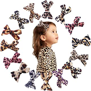 15 Pcs 4Inch Hair Bows Clips Leopard Print Velvet Hair Bows Alligator Hair Clips Barrettes Accessories For Baby Girls Toddlers Teens Kids